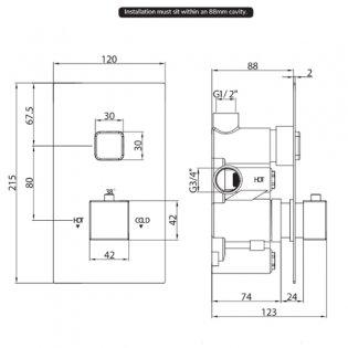Orbit Recessed One Square Push Button Concealed Shower Valve Single Handle - Chrome