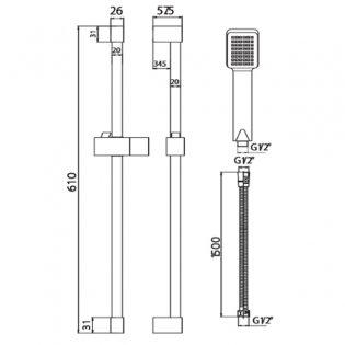 Orbit Square Shower Slide Rail Kit with Paddle Handset - Chrome