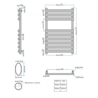 Orbit Tubular Designer Heated Towel Rail 800mm H x 500mm W - Chrome