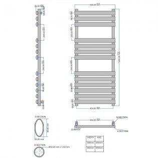 Orbit Tubular Designer Heated Towel Rail 1200mm H x 500mm W - Chrome