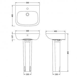 Premier Ambrose Basin and Full Pedestal 500mm Wide 1 Tap Hole