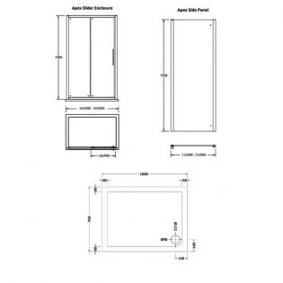 Premier Apex Sliding Shower Enclosure 1000mm x 760mm with Shower Tray - 8mm Glass