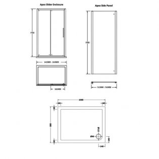 Premier Apex Sliding Shower Enclosure 1000mm x 800mm with Shower Tray - 8mm Glass
