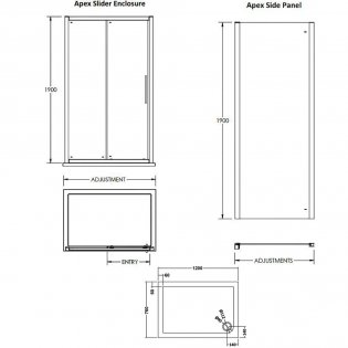 Premier Apex Sliding Shower Enclosure 1200mm x 760mm with Shower Tray - 8mm Glass