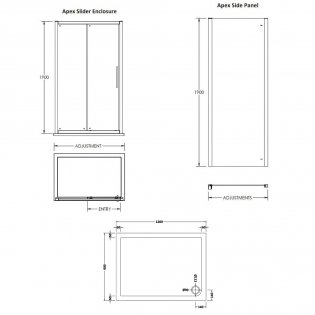 Premier Apex Sliding Shower Enclosure 1200mm x 900mm with Shower Tray - 8mm Glass