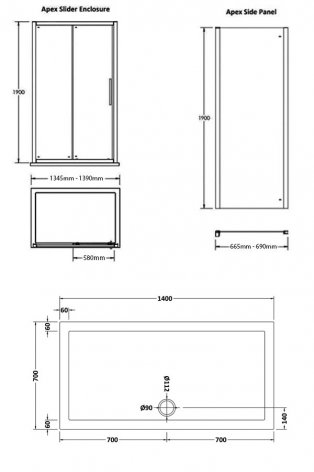 Premier Apex Sliding Shower Enclosure 1400mm x 700mm with Shower Tray - 8mm Glass