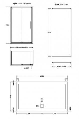 Premier Apex Sliding Shower Enclosure 1400mm x 800mm with Shower Tray - 8mm Glass