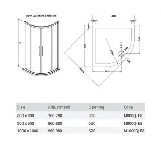 Premier Apex Quadrant Shower Enclosure 800mm x 800mm with Shower Tray - 8mm Glass