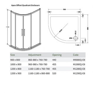 Premier Apex Offset Quadrant Shower Enclosure 900mm x 800mm with Shower Tray LH - 8mm Glass
