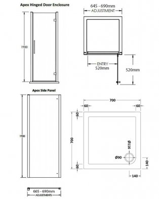 Premier Apex Hinged Shower Enclosure 700mm x 700mm with Shower Tray - 8mm Glass