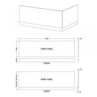 Premier Athena Bath Front Panel 560mm H x 1700mm W - Hacienda Black