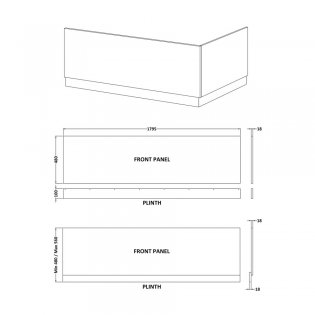 Premier Athena Bath Front Panel 560mm H x 1800mm W - Hacienda Black