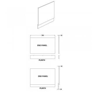 Premier Athena Bath End Panel 560mm H x 800mm W - Brown Grey Avola