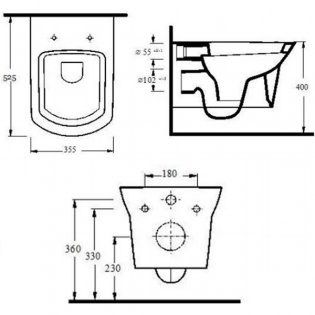Premier Clara Wall Hung Toilet WC 525mm Projection - Excluding Seat