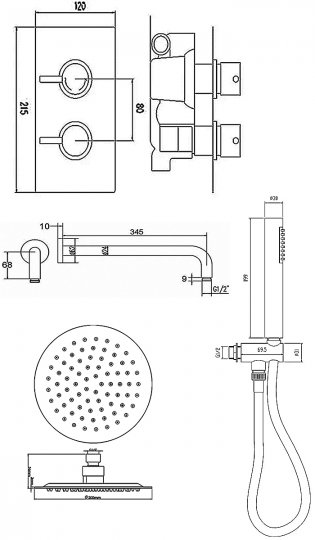 Premier Rectangular Twin Valve Concealed Mixer Shower with Round Fixed Head and Handset