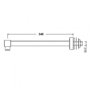 Premier Contemporary Wall Mounted Shower Arm, 345mm Length, Chrome
