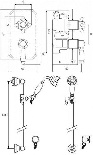 Premier Edwardian Concealed Shower Mixer with Slider Rail Kit - Chrome