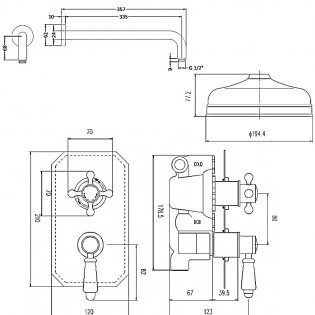 Premier Edwardian Dual Concealed Mixer Shower with Fixed Head