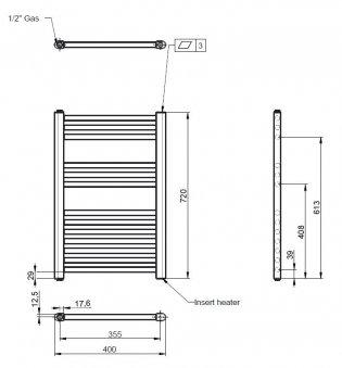 Premier Electric Heated Towel Rail 720mm H x 400mm W White