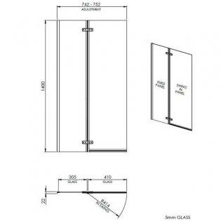 Premier Ella Straight Hinged Bath Screen, 1400mm High x 745mm Wide, 5mm Glass