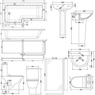 Premier Freya Complete Bathroom Suite with L-Shaped Shower Bath 1700mm - Left Handed