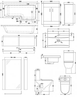 Premier Freya Complete Furniture Suite with 600mm Vanity Unit and L-Shaped Shower Bath 1700mm RH
