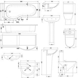 Premier Freya Complete Bathroom Suite with P-Shaped Shower Bath 1700mm - Left Handed