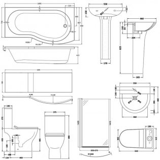 Premier Freya Complete Bathroom Suite with B-Shaped Shower Bath 1700mm - Right Handed