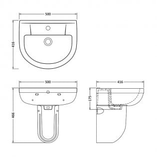Premier Harmony Basin and Semi Pedestal 500mm Wide - 1 Tap Hole