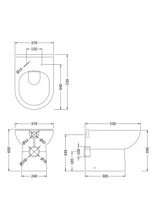 Premier Lawton D-Shape Back to Wall Toilet 530mm Projection - Excluding Seat
