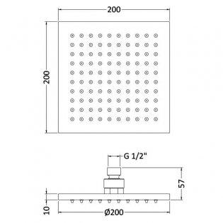 Premier LED Square Fixed Shower Head, 200mm x 200mm, Chrome