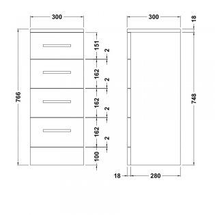 Premier Mayford 4-Drawer Unit 300mm Wide x 300mm Deep - High Gloss White