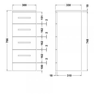 Premier Mayford 4-Drawer Unit 300mm Wide x 330mm Deep - High Gloss White