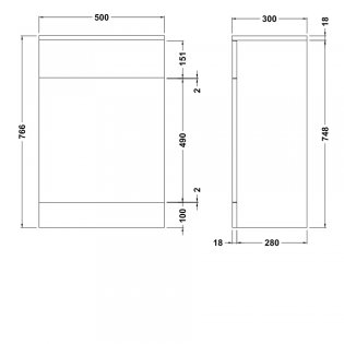 Premier Mayford Back to Wall WC Toilet Unit 500mm Wide x 300mm Deep - Gloss White