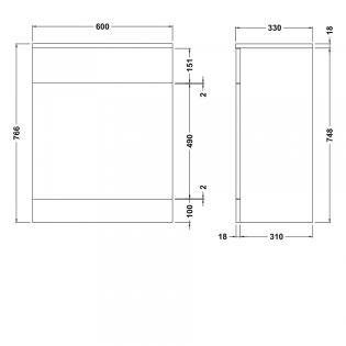 Premier Mayford Back to Wall WC Toilet Unit 600mm Wide x 330mm Deep - Gloss White