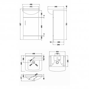 Premier Mayford 1-Door Bathroom Vanity Unit with Basin 450mm Wide - 1 Tap Hole