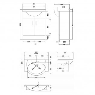 Premier Mayford Bathroom Vanity Unit with Basin 650mm Wide - 1 Tap Hole