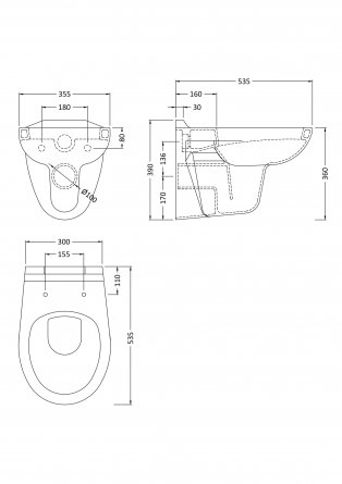 Premier Melbourne Wall Hung Toilet 540mm Projection - Soft Close Seat