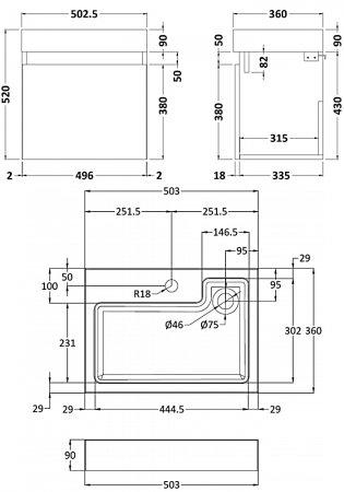 Premier Merit Wall Hung 1-Door Vanity Unit with L-Shaped Basin 500mm - Hacienda Black