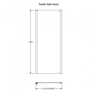 Premier Pacific Universal Side Panel, 760mm Wide, 6mm Glass