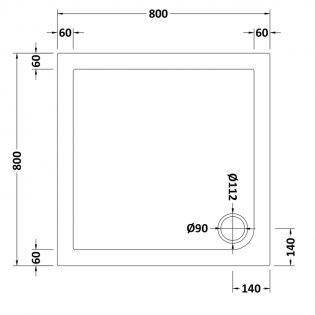 Premier Pearlstone Square Shower Tray 800mm x 800mm Pearlstone
