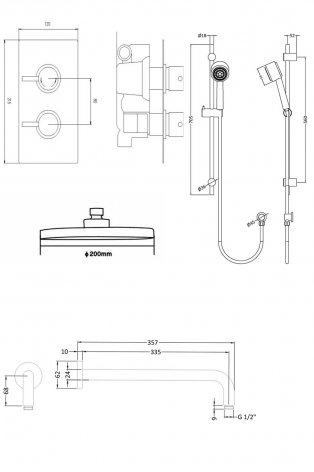Premier Pioneer Round Shower Valve, Slider Rail Kit, Fixed Shower Head, Chrome