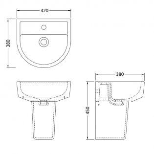 Premier Provost Basin and Semi Pedestal 420mm Wide - 1 Tap Hole