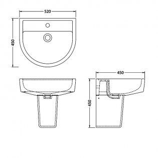 Premier Provost Basin and Semi Pedestal 520mm Wide - 1 Tap Hole