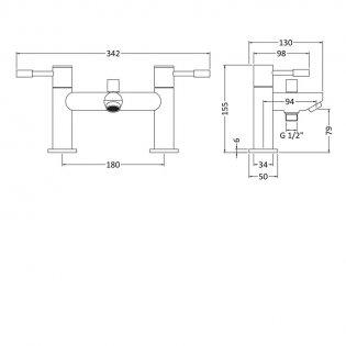 Premier Series 2 Bath Shower Mixer Tap Deck Mounted - Chrome