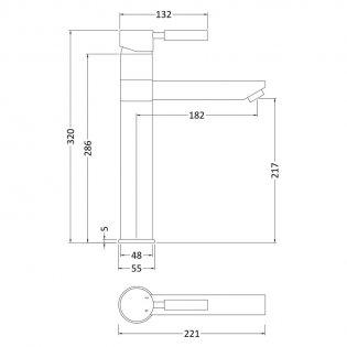 Premier Series 2 Tall Mono Basin Mixer Tap Single Handle Chrome
