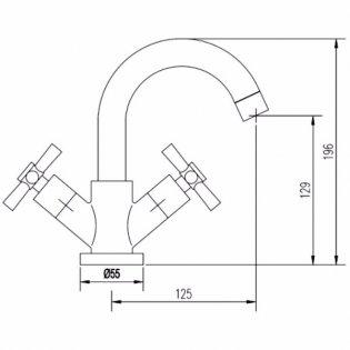 Premier Series 1 Swivel Spout Mini Mono Basin Mixer Tap Dual Handle with Waste - Chrome