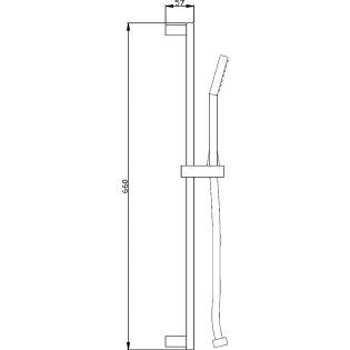 Premier Square Slider Rail Shower Kit, 660mm High, Chrome