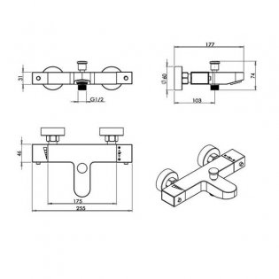 Premier Square Thermostatic Bath Shower Mixer Tap Wall Mounted - Chrome