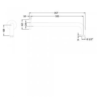 Premier Standard Wall Mounted Shower Arm, 357mm Length, Chrome